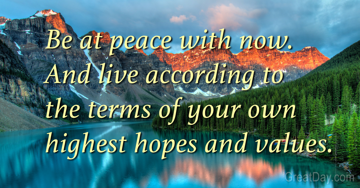 the daily motivator at peace with now